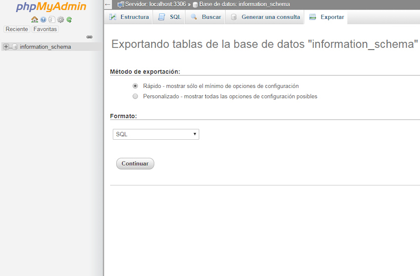 exportar base de datos wordpress